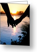 Silhouette Greeting Cards - Holding Hands Silhouette Greeting Card by Cindy Singleton