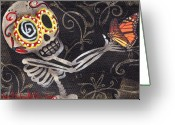 Skull Painting Greeting Cards - Holding Life Greeting Card by  Abril Andrade Griffith