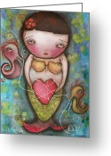 Eyes.fantasy Greeting Cards - Holding Tight Greeting Card by  Abril Andrade Griffith