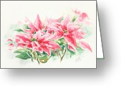 Watercolor Flowers Prints Greeting Cards - Holiday Flowers Greeting Card by Elisabeta Hermann