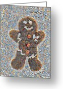 Heart Images Greeting Cards - Holiday Hearts Gingerbread Man Greeting Card by Boy Sees Hearts
