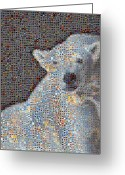 Grid Of Heart Photos Digital Art Greeting Cards - Holiday Hearts Polar Bear Number Two Greeting Card by Boy Sees Hearts