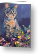 Cat Painting Greeting Cards - Holiday Lights Greeting Card by Kimberly Santini