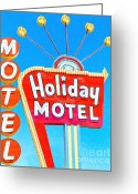 Welcome Signs Greeting Cards - Holiday Motel Las Vegas Greeting Card by Wingsdomain Art and Photography