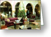 Sarasota Mixed Media Greeting Cards - Holiday Time Inside Ringling Greeting Card by Florene Welebny