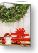  Wrapping Greeting Cards - Holiday wreath with snow globe  Greeting Card by Sandra Cunningham