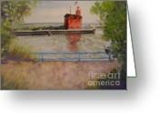 West Pastels Greeting Cards - Holland Harbor Greeting Card by Sandra Strohschein