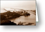 Great Point Greeting Cards - Holland Michigan Harbor Big Red Aerial Photo Greeting Card by Michelle Calkins