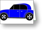 Asbjorn Lonvig Greeting Cards - Hollandes Blue Beach Car - Virtual Car Greeting Card by Asbjorn Lonvig