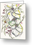Holiday Notecard Greeting Cards - Holly And Ice Greeting Card by Michele Hollister - for Nancy Asbell