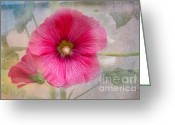 Hollyhock Greeting Cards - Hollyhock Greeting Card by Lena Auxier