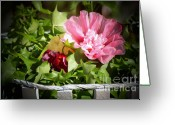 Wicker Basket Greeting Cards - Hollyhocks and Snapdragons 2 Greeting Card by Marjorie Imbeau