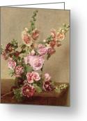 1889 Greeting Cards - Hollyhocks Greeting Card by Ignace Henri Jean Fantin Latour