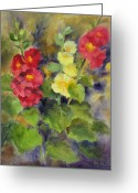 Award Greeting Cards - Hollyhocks Greeting Card by Karin  Leonard