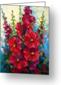 Country Painting Greeting Cards - Hollyhocks Greeting Card by Marion Rose