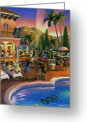 California Painting Greeting Cards - Hollywood Ants Cocktail party Greeting Card by Robin Moline