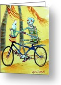 Tropical Beach Painting Greeting Cards - Hollywood Bicycle Woman Greeting Card by Heather Calderon