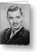 Graphite Greeting Cards - Hollywood greats Clark Gable Greeting Card by Andrew Read