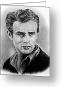 Graphite Greeting Cards - Hollywood greats James Dean Greeting Card by Andrew Read