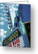 Neon Sign Greeting Cards - Hollywood Theater Greeting Card by Anthony Ross