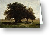French Landscape Greeting Cards - Holm Oaks Greeting Card by Pierre Etienne Theodore Rousseau