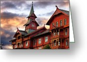 Featured Greeting Cards - Holmenkollen hotell Greeting Card by Torbjorn Schei