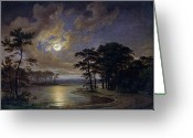 Georg Greeting Cards - Holstein Sea Moonlight Greeting Card by Johann Georg Haeselich