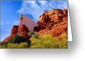National Mixed Media Greeting Cards - Holy Cross or Red Rock Chapel Greeting Card by Nadine and Bob Johnston