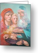 Saint Joseph Greeting Cards - Holy Family Greeting Card by Filip Mihail