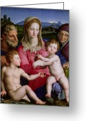 Jesus With Children Greeting Cards - Holy Family with St Anne and the infant St John the Baptist Greeting Card by Agnolo Bronzino