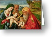 Saint Joseph Greeting Cards - Holy Family with St. Simeon and John the Baptist Greeting Card by Francesco Rizzi da Santacroce