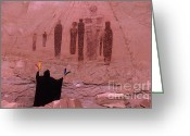 Ceremony Greeting Cards - Holy Ghost Petroglyph Greeting Card by Bob Christopher