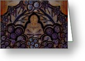 Contemplative Painting Greeting Cards - Holy In Peace And Acryl Greeting Card by Pepita Selles