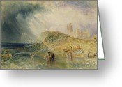 Landing Painting Greeting Cards - Holy Island - Northumberland Greeting Card by Joseph Mallord William Turner