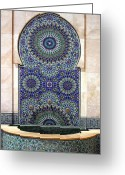 Zelij Greeting Cards - Holy Water Fountain Hassan Ii Mosque Casablanca Greeting Card by Ralph Ledergerber