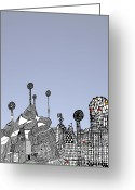 Barcelona Mixed Media Greeting Cards - Homage to Gaudi Greeting Card by Andy  Mercer