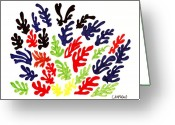 Violet Purple Greeting Cards - Homage To Matisse Greeting Card by Teddy Campagna