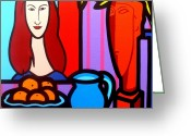 Still Life Greeting Card Greeting Cards - Homage To Modigliani II Greeting Card by John  Nolan