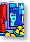 Modigliani Painting Greeting Cards - Homage To Modigliani Greeting Card by John  Nolan