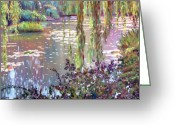 Lily Greeting Cards - Homage to Monet Greeting Card by David Lloyd Glover