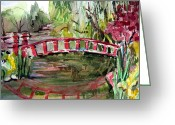 Landscape Drawings Greeting Cards - Homage to Monet Greeting Card by Mindy Newman