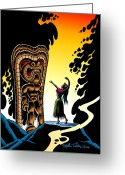 South Seas Greeting Cards - Homage to Tiki Greeting Card by Keith Tucker