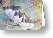 Baby Birds Greeting Cards - Home Alone Greeting Card by Patricia Pushaw