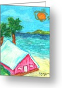 Caribbean Art Pastels Greeting Cards - Home by Shore Greeting Card by William Depaula