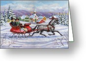 Sleigh Greeting Cards - Home For Christmas Greeting Card by Richard De Wolfe