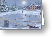 Pond Hockey Painting Greeting Cards - Home For Supper Greeting Card by Richard De Wolfe