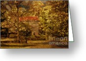 Log House Greeting Cards - Home For Thanksgiving Greeting Card by Lois Bryan