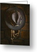 Cowboy Hat Photo Greeting Cards - Home from The Range Greeting Card by Ron Jones