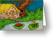 Pads Drawings Greeting Cards - home in Happy Hollows Greeting Card by Julie McDoniel
