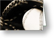 Baseball Mitt Greeting Cards - Home Run Greeting Card by Lj Lambert